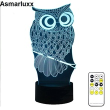 RC Remote or Touch Owl 3D Night Light 3 or 7 Colors Change Mood Lamp LED DC 5V USB Decor Table Lamp Baby Sleeping Nightlight(China)