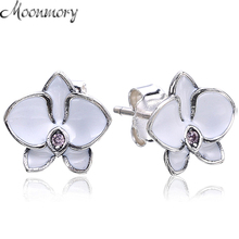 Moonnory  925 Sterling Silver Orchid Stud Earring With White Enamel For Girl Young Woman Fashion Jewelry Making Authentic Silver