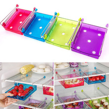 4 Colors Fridge Storage Rack With Layer Partition Refrigerator Plastic Storage Holder Pull-out Drawer Organizer 15x11.8x2.5cm