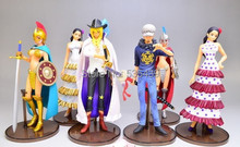 Hot ! NEW 6pcs/set 14cm latest report One piece luffy Dracule Mihawk Nico Robin action figure toys Christmas toy(China)