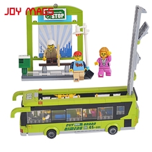 JOY MAGS Bus Station Green Bus and the Citizen Building Blocks Compatible with All Brand