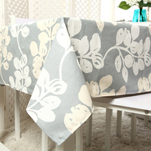 High Quality Cotton thick canvas tablecloth activity printing gray rattan leaf table cloth(China)