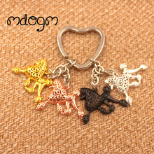 2017 Cute Poodle Dog Animal Gold Silver Plated Metal Pendant Keychain For Bag Car Women Men Key Ring Love Jewelry K012(China)