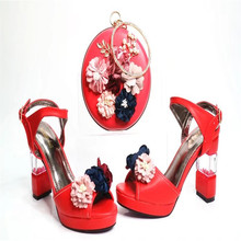 G31 Red 2017 Fashoinable Design European Style Shoes And Bags Set With Flower Sexy Lady Shoes High Heels Matching Bag On Sale