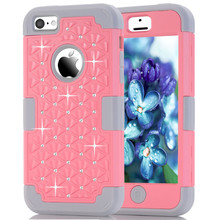 Phone Case For iPhone 5C Diamond Hybrid Heavy Duty Protective Back Cover Skin Anti-shock Colorful 3 in 1 Full Protector Shell(China)