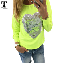 2017 Fashion Autumn t shirt women heart sequin top round neck heart shape blusa long sleeve woman shirts tops ladies tshirts tee(China)