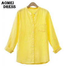 S M XL 4XL 5XL Spring Summer Tops Full Sleeve Yellow Office Women Tops Blouse with Pocket Linen Fashion Casual Blusas Body Shirt