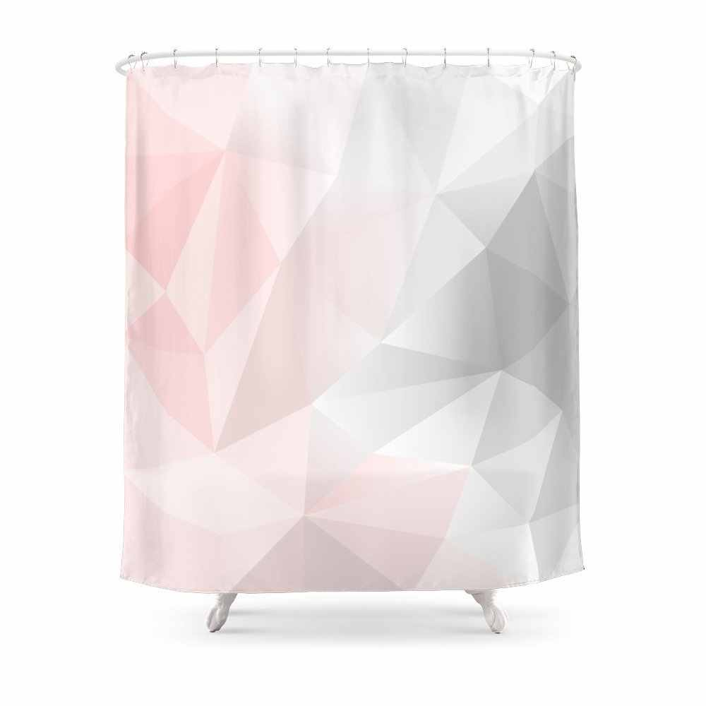 Pink Gray Geometric Low Poly Background Shower Curtain Waterproof Polyester Fabric Bathroom Decor Printed Shower Curtain
