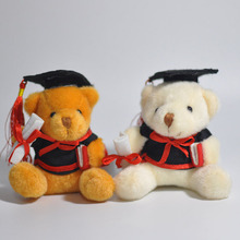 11cm 10pcs Ph.D. Bear Plush Toys Cute Sitting Bear Dolls Kids Friends Graduation Souvenir Gift