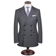 Custom Made Men's Wedding Suits Groom Tuxedos Jacket+Pant+Tie Formal Suit Double Braested Grey Plaid Tailored Made suit for man