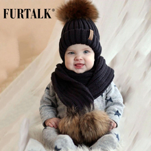 Kids Ages 2-14 Winter Warm Chunky Thick Knit Beanie Hats and Scarves Real Fur Pom Pom Hat Scarf Set for Child(China)
