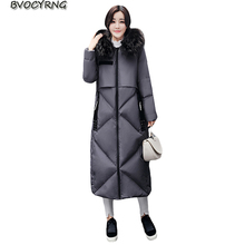 New Women Eiderdown Cotton Outerwear 2017 Fashion Hooded Winter Coat Female Warm Jacket Slim Parka Very Long Ladies Coats Q867