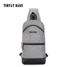 TINYAT Man's Leather Crossbody Bag for Ipad Male Men Chest Bag Casual Messenger Bag Brand Canvas Leisure Shoulder Bag Gray T650(China)