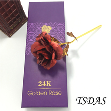 Lover's Gifts 25*8cm 24k Gold Rose Flower Never Fade, Gold Dipped Rose (Packing With Gift Box) Free Shipping 1pc