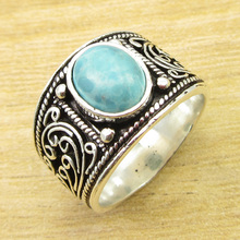 Natural Gem Ring Size US 9 ! Silver Overlay Larimar Jewellery ONLINE STORE(China)