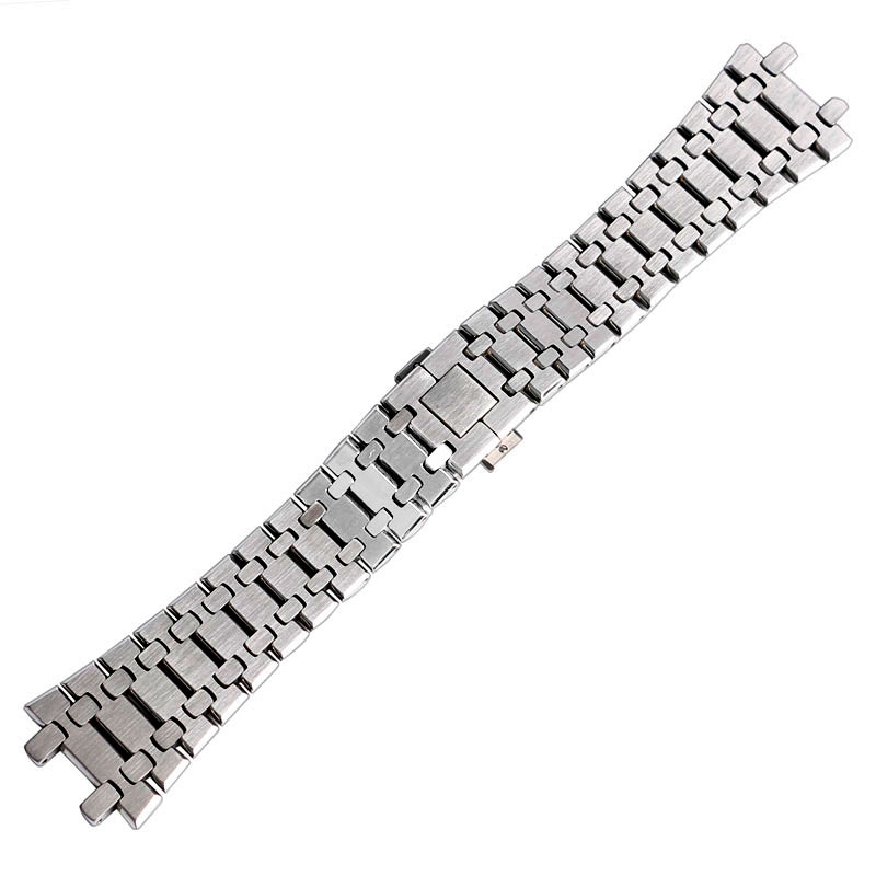 High Quality 28mm Silver Solid Stainless Steel Watchband for AP Watches with Butterfly Clasp Strap Bracelet with Spring Bars<br>