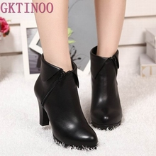 genuine Leather boots women shoes ankle boots spring women boots high heels Plus velvet winter boots