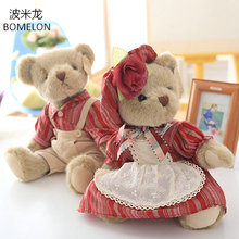 35CM Cute Couple Doll Bears Jointed Teddy Bear in Clothes Soft Stuffed Plush Animals Doll Girlfriend Valentines Christmas Gift