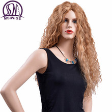 MSIWIGS Long Brown Curly Synthetic Wigs for Women Heat Resistant Natural Hair American Russian Blonde Ombre Wig
