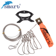 SMART Fish Lock 5m Stainless Steel Line 5pcs Live Fish Buckle Pesca Accessories Fishing Tackle Tool Chain Stringer With Float
