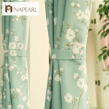 Fresh flowers green curtain Korea living room bedroom fabrics children room window treatments modern kitchen curtain door