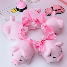 1pcs 14cm Bowknot Pink Pig Plush Toy stuffed animals lovely fat pink pig Best Christmas Gifts for Children cartoon tv(China)