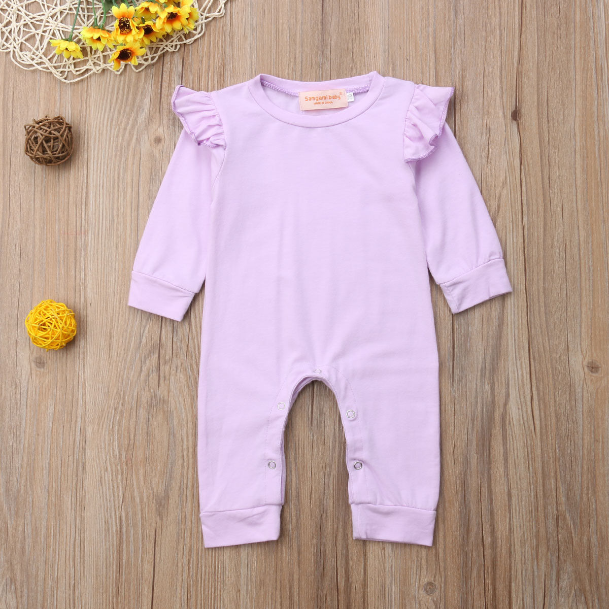 494353d18fd Toddler Newborn Baby Girl Romper Solid Purple Ruffles Long Sleeve Infant  Girls Jumpsuit Playsuit Autumn Baby Girl Clothing
