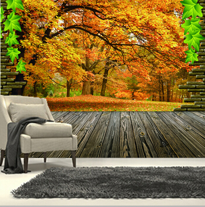 The custom 3D murals,3D Maple natural landscape murals papel de parede,living room sofa TV wall bedroom wall paper<br>