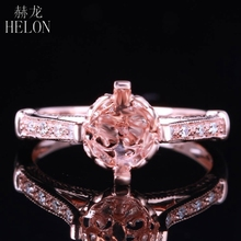 HELON 7mm Round Cut Solid 14K Rose God Semi Mount Engagement Wedding Antique Pave Natural Diamonds Women's Jewelry Fine Ring