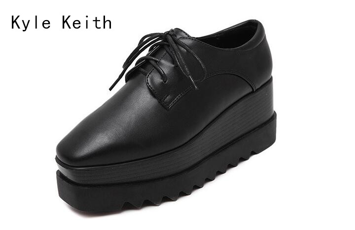 Kyle Keith 2017 Spring Autumn Women Patent Leather Flat Platform Shoe Casual Lace Up Woman Patchwork Round Toe Shoe<br>