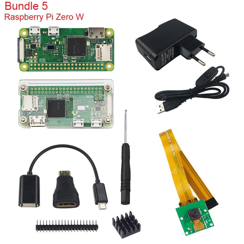 Raspberry Pi Zero W Kit + Official Case + Camera + Micro OTG Cable + GPIO Header + Mini HDMI Adapter + SD Card + USB Cable<br>