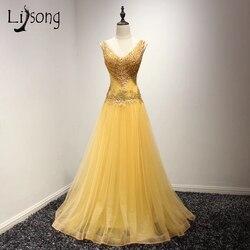 Modern Gold Yellow Beaded A-line Evening Dress Long vestido de noiva Modest Women  Evening Formal Dress Maxi Gowns robe de soiree d9a4b06073e3