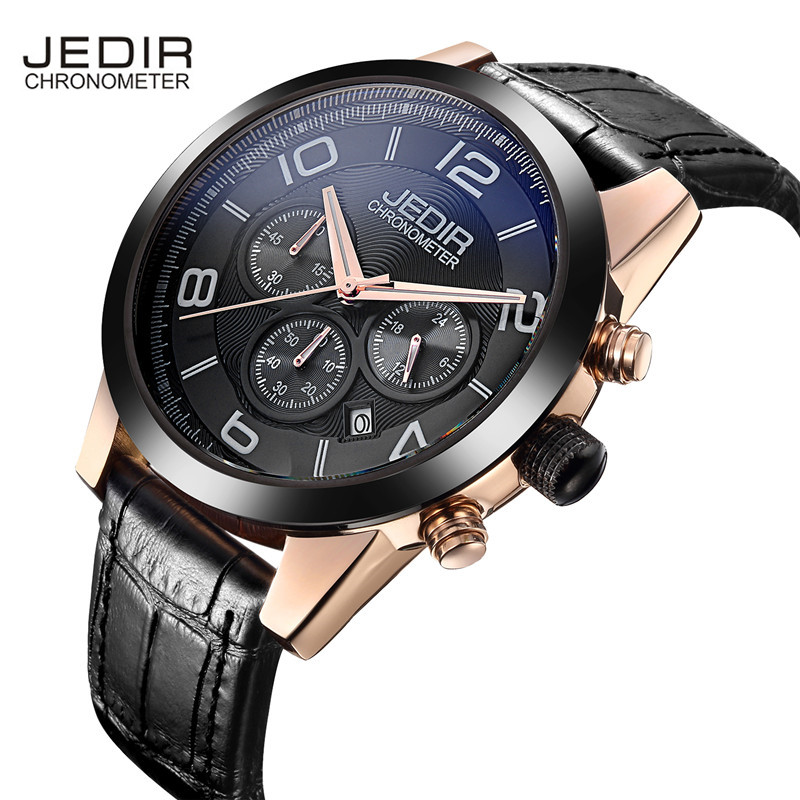 JEDIR Number Nail Scale Multifunction Sub Dials Leather Strap Quartz Movement Hardlex Buckle Business Men Watch<br>