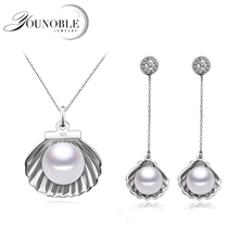 Buy Real wedding freshwater pearl bridal jewelry sets women,925 silver earrings set jewelry girls pendant necklace black gift trendy for $11.66 in AliExpress store