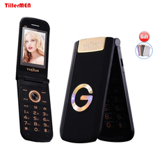TKEXUN G3 Slim senior flip phone GPRS dual sim mp3 mp4 FM camera one-key dial old people Cell Mobile Phones(China)