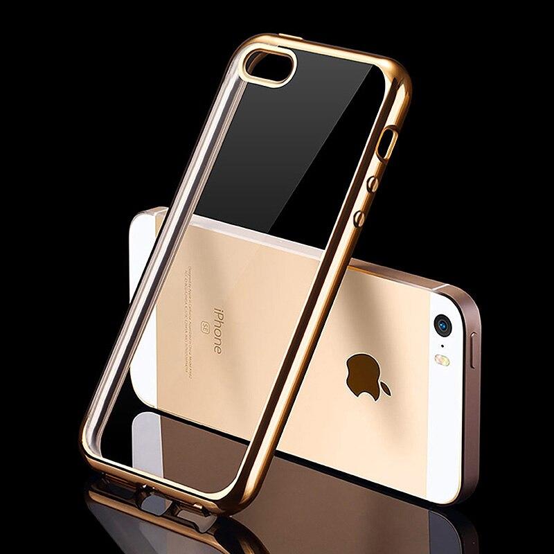 Роскошные силиконовый чехол для iPhone 5/5S/SE прозрачной крышкой 0.5 мм Ultra Slim Coque Fundas для я телефон iPhone5 S Золото(China)