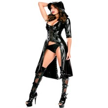 Buy Sexy Club DS Costume Women Punk Gothic Black Jumpsuit Fetish Dance Jumpsuit Latex Catsuit Erotic Catsuit Faux Leather Bodysuit