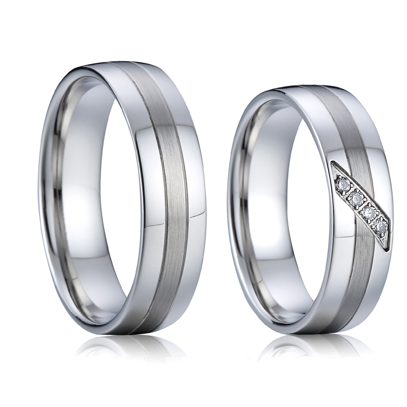 Wedding band engagement rings pair for men and women silver white gold color titanium jewelry love couple rings set (2)
