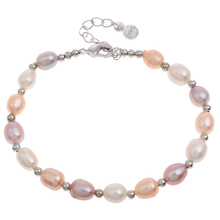 New Hot Silver-color Beaded Charm Bracelets Bangles Fashion Natural Freshwater Pearl Bracelet Wedding Bridal Pearl Gifts Woman