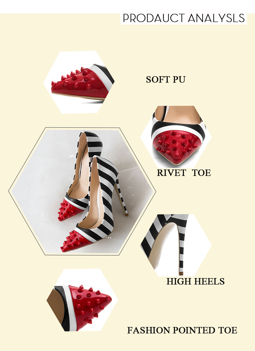WETKISS Studded High Heels 12cm Stilettos Women Pointed Toe Rivet Ladies Party Pumps Zebra Shallow Colorful Shoes Woman 34-45 3