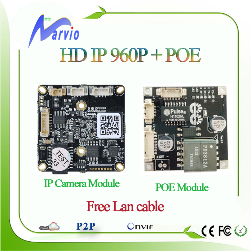 HD 960P 1.3MP CCTV IP Camera board and POE module  the CCTV IP POE Camara board + tail Lan Cable, free P2P Series Number<br><br>Aliexpress