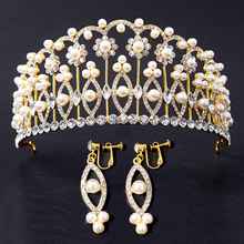 Luxury pearl bridal big Baroque crown with earrings prom hair jewelry wedding hair accessories beauty Imperial crown and tiara