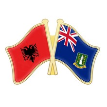 Albania and British Virgin Islands Cameroon Canada Cape Verde Cayman Islands Central African Republic Crossed Flags Lapel Pins(China)