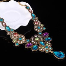MINHIN Luxury Colorful Crystal Maxi Choker Necklace For Women Vintage Statement Necklaces & Pendants Flower Design Collar(China)