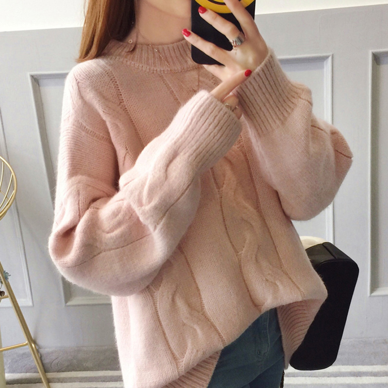 New Fashion Preppy Style Sweater Women Spring Autumn Solid Knitted Pullover O-neck Puff Sleeve