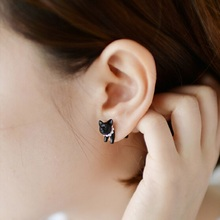One Pair Fashion Cute Woman Lady Girl Black Cat Pearl Stud Earrings Puncture Ear Jewelry