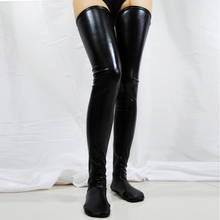 Buy New Girl Sexy Lingerie WetLook Latex Stockings Faux Leather Wet Look Vinyl Fetish Stockings Club Pole Dance Clothes Woman Hose