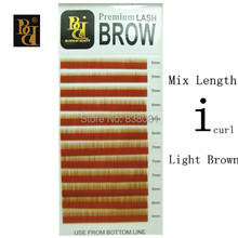 BB brand light brown mixed length I curl 12row/tray Faux Mink Eyebrow Extensions Makeup for Permanent Eyebrow free shipping(China)