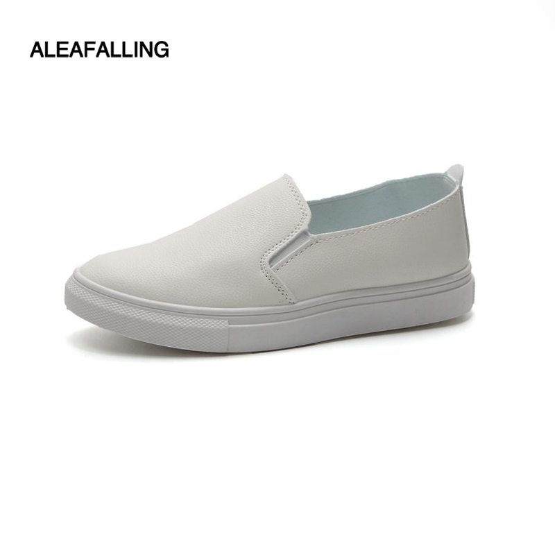 Aleafalling New Arrival Pu Leather Women Flat Shoes Simple White Soft Anti-slip Bottom Women Sneaker Outdoor Zapatos Mujer Fl13(China)