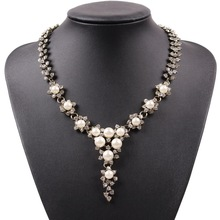 Chinese Yiwu Market Fashion Jewellery Exquisite Luxury Rhodium Color White Pearl Necklace For Women' Wedding Jewelry